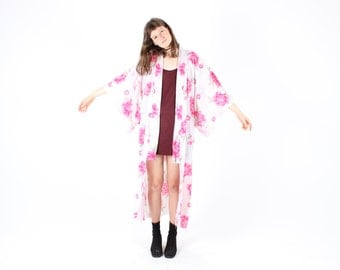 80s Dramatic + Fun Cotton POP ART Flower / Floral Pastel Kimono Duster Robe / Maxi Dress