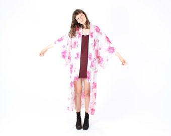 50% OFF SALE - 80s Dramatic + Fun Cotton Pop Art Flower / Floral Pastel Kimono Duster Robe / Maxi Dress