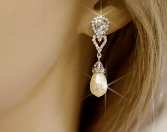ArtDeco Bridal Pearl Earrings- Knot Earrings, Swarovski Pearl Drop Earrings, Wedding Earrings, Crystal Earrings, Tear Shape ,Cubic Zirconia