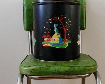 Large Pennsylvania Dutch Collectible Pretzel Tin, 4 seasons, Quinlan's Pretzels, Amish, Toleware, wastebasket/tray, scandinavian design