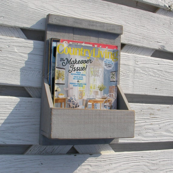 Primitive Folk Art Gray Magazine Rack Wall Box Custom Color