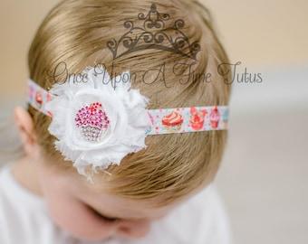 Pink Cupcake Headband - Newborn Baby Hairbow - Little Girls Hair Bow - Sweet Shoppe Birthday Hair Piece Aqua Blue Pink Cake Smash Accessory