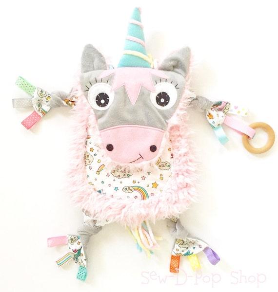 Unicorn Baby Lovey Blanket Binkie Clip Cuddle Toy Friend