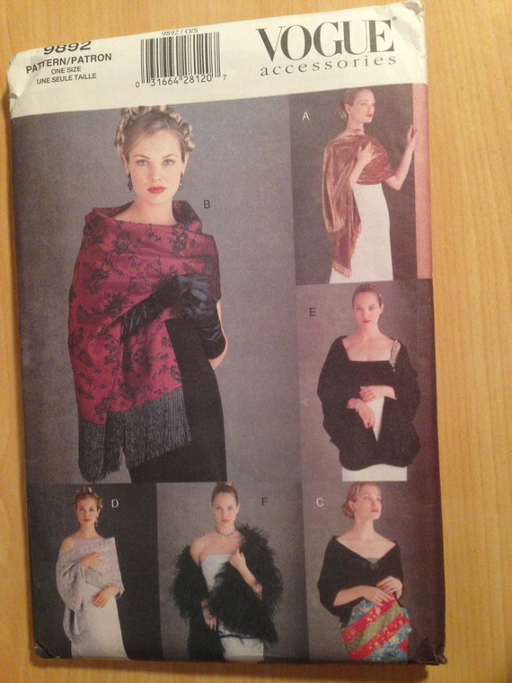 Vogue Accessories Sewing Pattern 9892 Evening Shawls