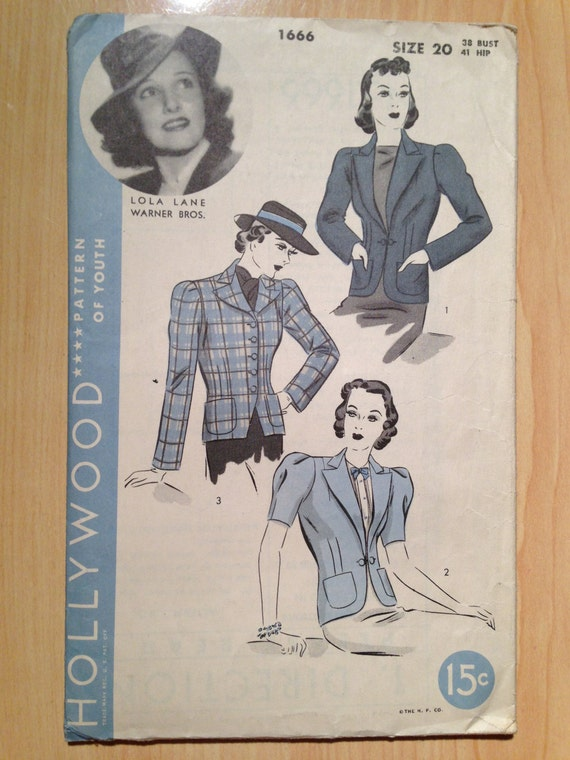 Rare Vintage 40s Hollywood Lola Lane Sewing Pattern 1666 Misses Jacket Size 20
