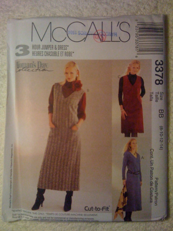 McCalls 3378 Sewing Pattern Uncut Misses and Misses Petite Dress and Jumper in Two Lengths Size 8-10-12-14