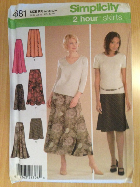 Simplicity 4881 Sewing Pattern Uncut Misses Pull On Gored Skirt in Two Lengths and Bias Skirt in Three Lengths Size 14-16-18-20