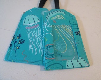 Custom Luggage Tag Jellyfish Into the Deep Designer Fabric Travel Accessory Kids ID Marine Life Gift Card Holder Scuba Tropical Wedding