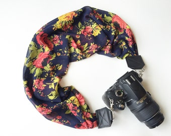 Scarf Camera Strap for dSLR digital cameras -navy blue and pink floral camera strap