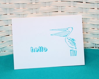 Set of 5 Hand Stamped Pelican Cards, Hello