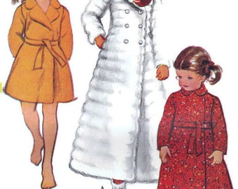 McCall's 70s Sewing Pattern Girl's Robe Slippers Double Breasted Coat Style Wrap Front Ankle or Knee Length Bust 27