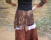 Shimmy belt belly dance practice wear, tribal costume or festival clothing. Eco repurposed bronze - brown sequin and velvet hip skirt S - M