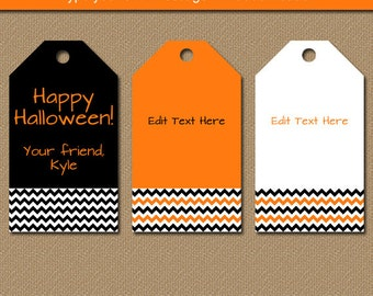 Halloween Hang Tags - Printable Halloween Party Favor Tags - EDITABLE Halloween Tags - Orange and Black Chevron Gift Tags - INSTANT Download