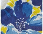 1 Yard - Bright and Bold Vintage Cotton, Floral Fabric in Royal Blue and Yellow