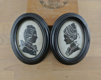 Pair of Vintage Embroidered Silhouettes in Black Convex Glass Frames