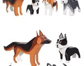 Dogs Paper Toys - DIY Paper Craft Kit - 3D Paper Animals - 4 Pets - Kids Dogs
