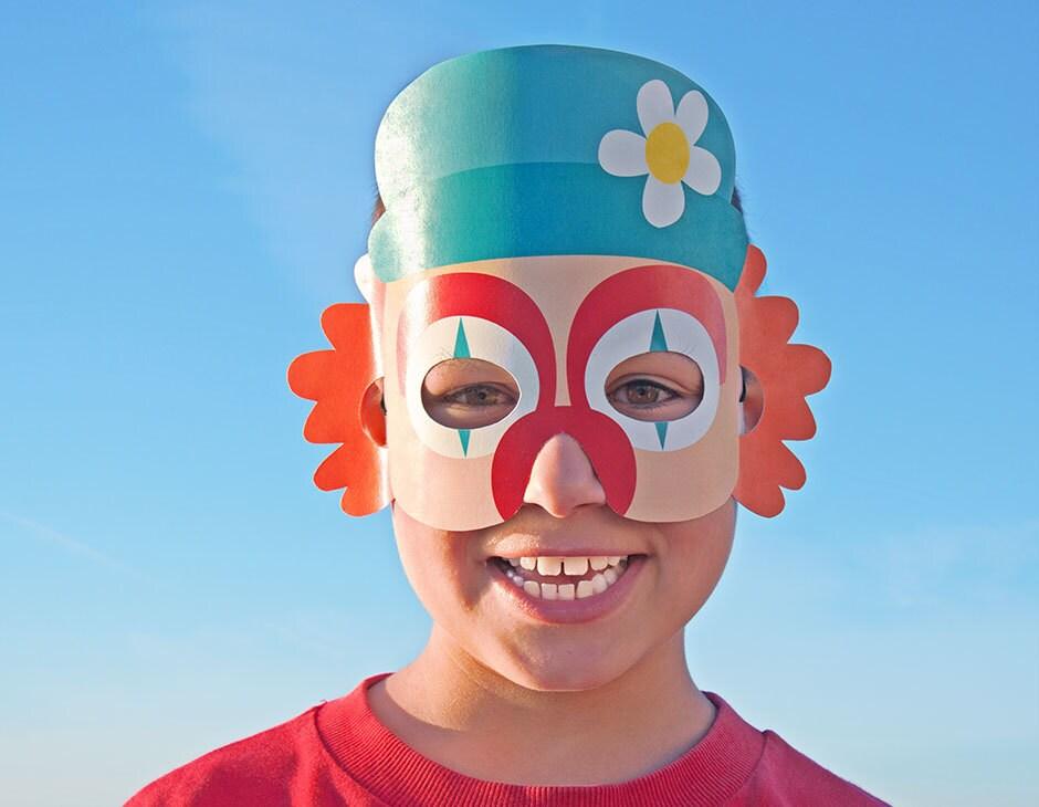 clown paper mask kids halloween costume printable mask