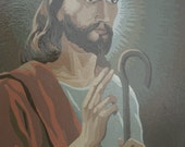 """Vintage Painted by Numbers Religious Painting PBN Jesus Christ  14"""" x 10"""""""