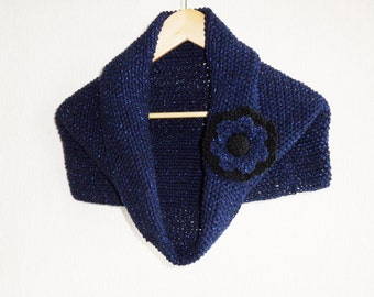 Knitted Cowl - Neckwarmer - Hood Scarf -Hand Knit Scarf - Navy Cowl - Loop Circle Scarf - Infinity Scarf with Detachable Flower Brooch