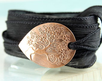 Tree-of-Life Silk Wrap and Handmade Copper Focal - Ribbon Bracelet