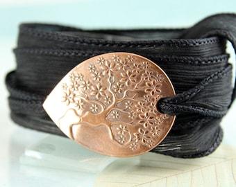 Tree-of-Life Silk Wrap and Handmade Copper Focal - Ribbon Bracelet