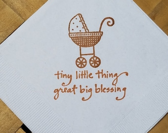 Baby Buggy Tiny Little Thing Great Big Blessing Baby Shower Heart White Cocktail Napkins Baby Girl or Baby Boy in Sepia ink- Set of 50
