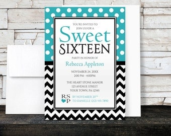 Sweet Sixteen Invitations - Polka Dot Turquoise and Chevron Zigzag - Girl's Modern and Trendy Sweet 16 Party - Printed Invitations