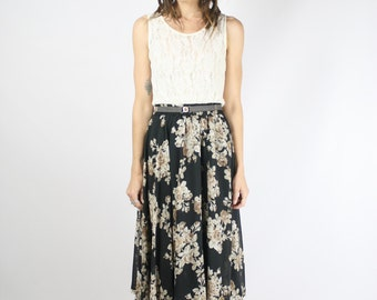 90s Floral Midi Skirt, Small 3595