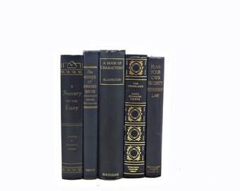 DEEP BLUE Decorative Books, Wedding Decor Centerpiece, Old Book Set, Antique Book COllection, Instant Library  BOok Stack Home Design