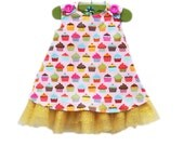 Rainbow Cupcake Dress with Tulle - Formal Wear - Rainbow Cupcakes Dress - Birthday Formal Girls Outfit - Party Dress - KK Children Designs