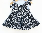 Spiral Twirl Dress - Toddler Girls Dress - Jumper - Spring Outfit - Black - Baby Shower - Birthday Gift - Modern Girls - Handmade in USA