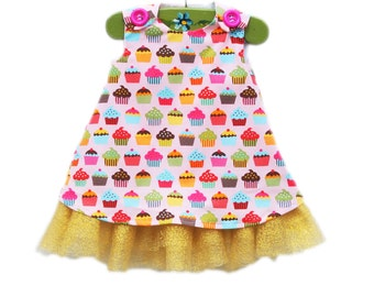 Rainbow Cupcake Dress with Tulle - Formal Wear - Rainbow Cupcakes Dress - Birthday Formal Girls Outfit - Baby Gift - KK Children Designs