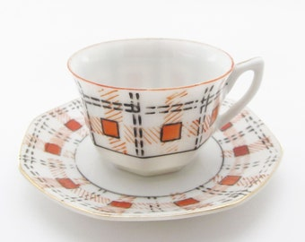 Occupied Japan Miniature Cup and Saucer Vintage Morirama Adline Porcelain China Plaid Cup and Saucer Collectible