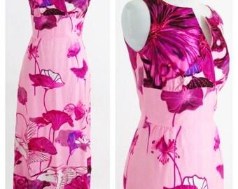 Vintage 1970s Dress - Pink Sleeveless Empire waist Maxi Dress - Novelty Love Bird and Herons Print - Asian Style Dress - Size Small