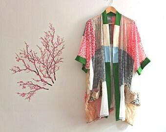 Upcycled Lace Patchwork Kimono Embroidered Pockets Bohemian Romantic Cardigan Recycled Clothing Size Large Extra Large XL 1x Plus Size
