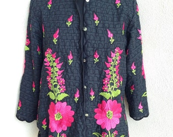 Vintage The Foreign Look jacket or top black pin fabric pink green floral embriodery sz M/L