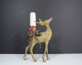Brass Reindeer Candleholder // Vintage Brass Deer Figurine Mid Century Modern Christmas Decoration Holiday Home Decor Pinecones Ribbon Bow