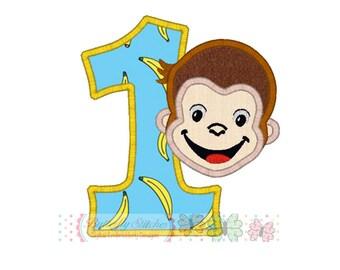Monkey Number 1 Digital Machine Appliqué Embroidery Design
