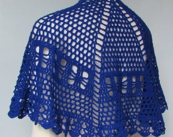 Beaded Crocheted Cape Blue Shawl lace wrap handmade