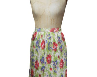 vintage 1960s watercolor floral skirt / pleated skirt / spring summer / a-line skirt / women's vintage skirt / size small