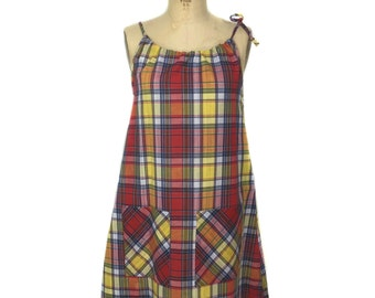 vintage 1960s plaid tent dress / Sears Fashions / spring summer / women's vintage dress / size large