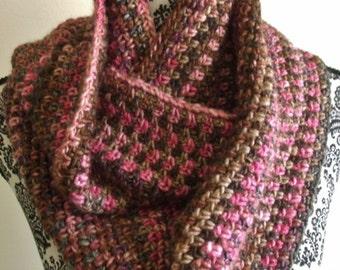 Pink and Brown Crochet Infinity Scarf - Loop Scarf