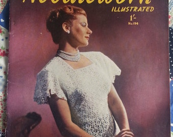 Early 50s Needlework Illustrated with crochet, sewing and knitting patterns