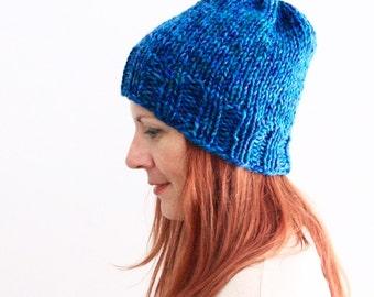 Slouchy beanie hat, hand knit hat, blue beanie, blue melange beanie, unisex chunky hat, ready to ship