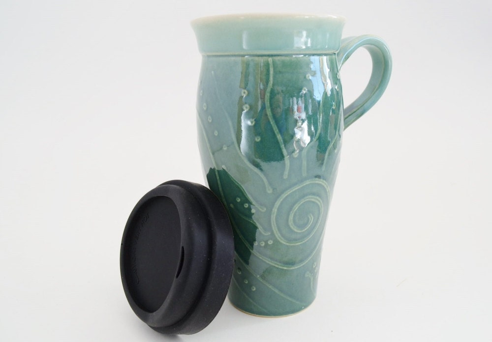 In Stock Ceramic Travel Mug With Silicone Lid Large To Go