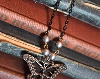 Art Deco Butterfly, Art Deco Jewelry, Butterfly Jewelry, Art Deco Necklace, Butterfly Necklace, Boho Jewelry, Pearl Necklace, Butterflies