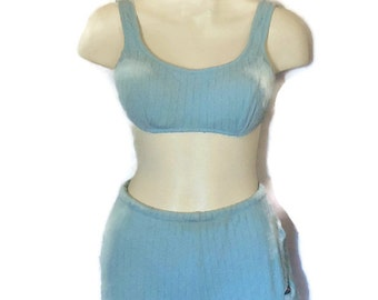 Vintage 1950s 60s Bikini Bathing Suit Pinup Jantzen Two Piece Swimsuit Bra Top Rockabilly Mid Century Made in Australia 38 M