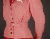 30s 40s houndstooth jacket blouse with peplum offwhite red size UK 12