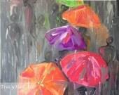 "Rainy Scene Painting Umbrellas People Walking in Rain Gray Pink Green Art Canvas 16"" x 20"""