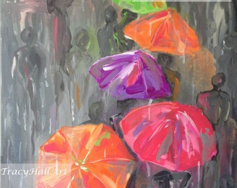 "Rainy Day Spring Painting Umbrellas People Walking in Rain Gray Pink Green Art Canvas 16"" x 20"""